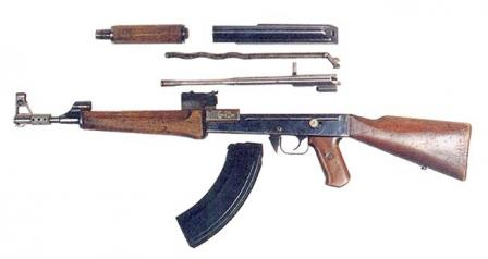 The experimental Kalashnikov assault rifle of 1947, also known as AK-47, first model, disassembled
