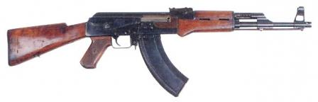 The experimental Kalashnikov assault rifle of 1947, also known as AK-47,second model (note that it has a small muzzle brake / compensator)