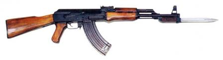 Post-1951 production Kalashnikov AK rifle with milled receiver and bayonet attached, right side