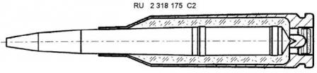 Diagram from original Russian patent, issued in 2006, for the design of the 5.45x39 PSP underwater cartridge and bullet, which protrudes down the cartridge case all the way to its base.
