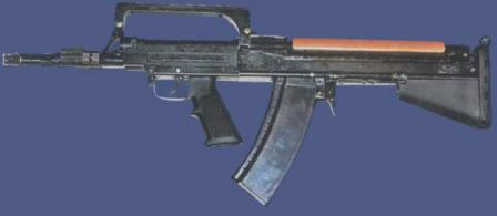 Early prototype of the ADS dual-medium / amphibious assault rifle configured for above-water fire, with standard AK-74 magazine loaded with 5.45x39 ammunition