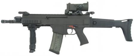 CZ 805 BREN A2 assault rifle with short barrel and red dot sight; iron sights are folded