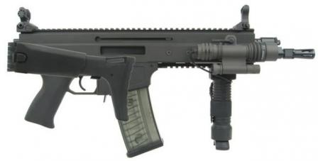 CZ 805 BREN A2 assault rifle with short barrel, butt folded, iron sights raised.