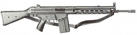 Earliest variant of G3 rifle with flip-up rear sight and metallic ventilated handguards