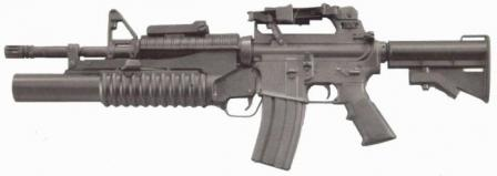 Colt M4 carbine, old version with fixed M16A2-style carrying handle and M203 grenade launcher