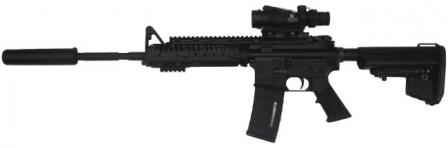 THOR Global Defense Group TR-15 carbine, manufactured along the lines of US GI M4, but fitted with a number of accessories such as AAC silencer, Vltor rail forend and buttstock, and Trijicon ACOG 4X optical sight