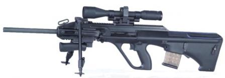 Steyr AUG A3 in Sniper configuration, with heavier and longer 20inch barrel,detachable bipod and long-range telescopic sight