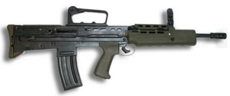 L85A1 rifle, with carrying handle and front sight installed instead of more common SUSAT telescope sight
