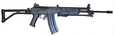 Galil ARM 5.56mm. The only differences from the Galil AR are the folding bipod and carrying handle