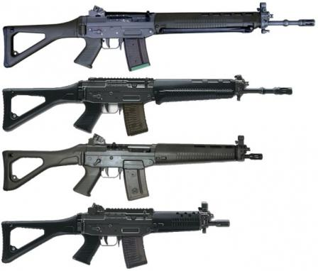 Complete family of SIG55x rifles, top to bottom: SIG SG 550 / Stgw.90, SIG SG 551-LB SWAT,SIG SG 551 and SIG SG 552 SWAT
