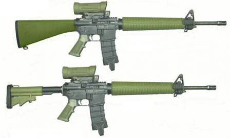 Diemaco C7A1 rifle (top) and upgraded C7A2 rifle (bottom), both fitted with Elcan optical sights