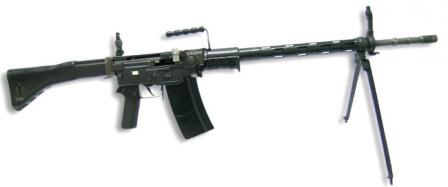 7.5mm SIG Stgw.57assault rifle as used by Swiss army, right side, with bipod attached to forward position