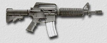 Colt Commando (model 733, note M16A2-style brass deflector and forward assist)