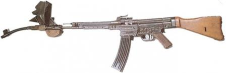 Stg.44 assault rifle with the Krummlauf Vorsatz J (curvedbarrel) attachment, which was designed to be fired