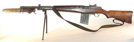Beretta BM59 - left side view, bayonet (in sheath) and bipod attached