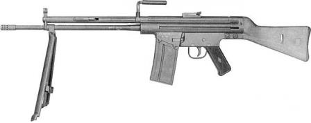 CETME modelo A assault rifle, chambered for 7.62x51mm reduced load cartridge