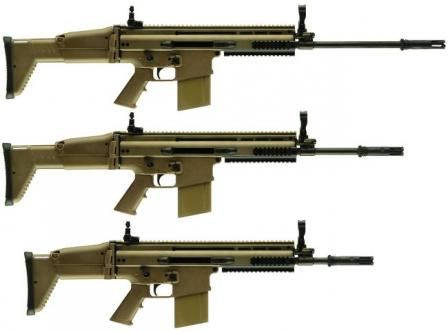 7.62mm NATO FN SCAR-H / Mk.17 rifles of current (2007/2008) production, top to bottom in Long Barrel (LB), bstandard (Std) and Close Quarter Combat(CQC) configurations
