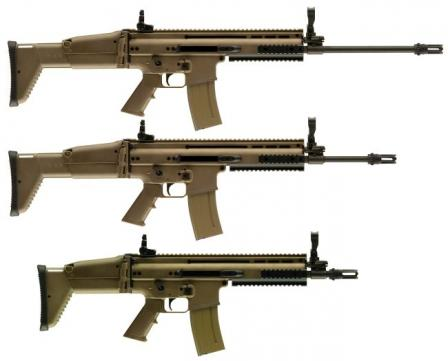 5.56mm NATO FN SCAR-L / Mk.16 rifles of current (2007/2008) production, top to bottom in Long Barrel (LB), bstandard (Std) and Close Quarter Combat(CQC) configurations