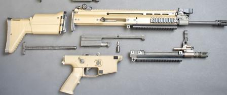 FN SCAR-L / Mk.16 rifle partially disassembled; note additiona lquick-detachable barrel