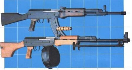 Type 81S (late production export version with fixed butt) assault rifle (top) and Type 81 MGS light machine gun (bottom)