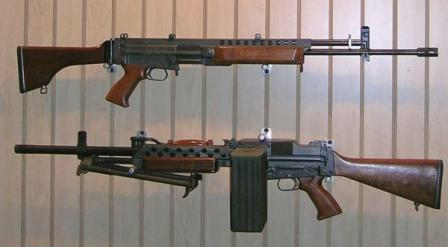 5.56mm Stoner 63 weapons, in rifle (top) and light machine gun configurations