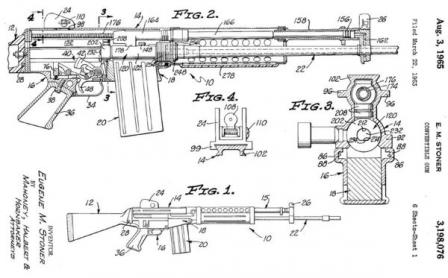 diagram from original US patent, granted to Eugene Stoner for design of Stoner62 / 63 weapon system