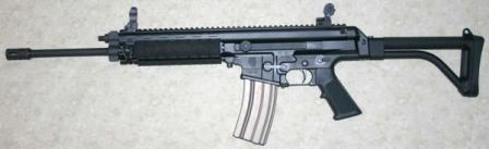 Robinson Armaments XCR rifle, caliber 5.56x45mm, with open sights (detachable and folding).