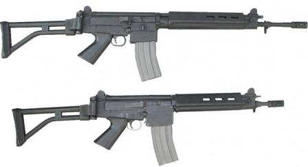 "IMBEL assault rifles, top ""military"" MD-97L, bottom ""police""MD-97LC; versions with folding buttstocks"