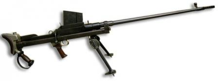 "Boys Mk.I* anti-tank rifle, with flat muzzle brake and ""inverted V"" shaped bipod, as made by Inglis in Canada."