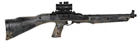 Hi-Point model 995 carbine, with camo-painted stock and optional red-dot sight.