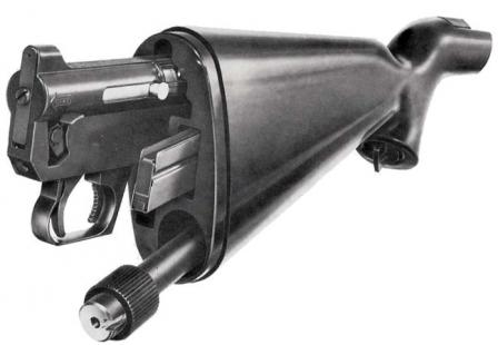 "Original AR-7""Explorer"" survival rifle, with parts partially inserted into the polymer stock. For compact storage and transportation parts are fully inserted into appropriate compartments in the stock and then closed by detachable rubber buttplate."