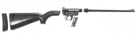 "Original AR-7""Explorer"" survival rifle, disassembled to major components."