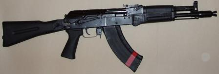 Saiga MK-03 carbine in 7,62x39, with AK-74M-type side-folding polymer butt and 30-round magazine.