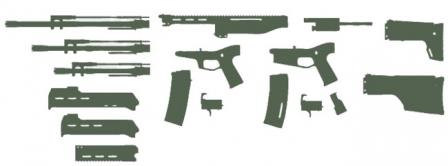 MAGPUL Masada / Bushmaster ACR - Adaptive Combat Rifle diagram showing its modular design.