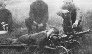 Soviet Taubin 40,6mm automatic grenade launcher on field trials, circa 1938.