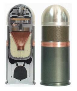 Устройство и внешний вид 40мм (40х53 НАТО) гранаты с осколочно-бронебойной боевой частью.