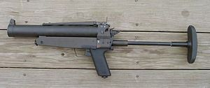 German HK69 40mm single-shot grenade launcher.