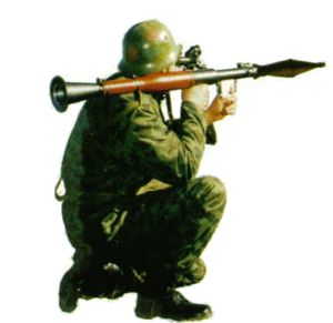Soldier aims with the Soviet RPG-7 grenade launcher
