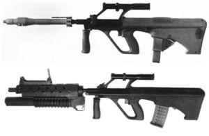 Сравнение винтовочного и подствольного гранатометов, установленных на австрийские штурмовые винтовки Steyr AUG.