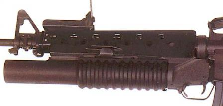 M203 40mm grenade launcher installed on the M16A1 assault rifle.