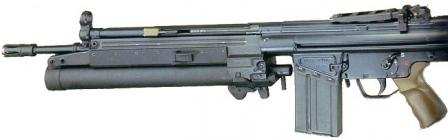 HK79 grenade launcher, mounted on the 7.62mm HK G3 rifle.