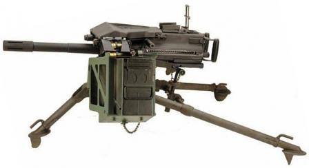 Mk.19 mod.3 automatic grenade launcher on tripod, with ammunition box attached.Today it is one of most widespread designs of this class in the world.