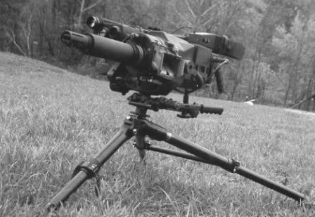 Mk.47 mod.0 Advanced Lightweight Grenade Launcher (ALGL) on standard tripod.