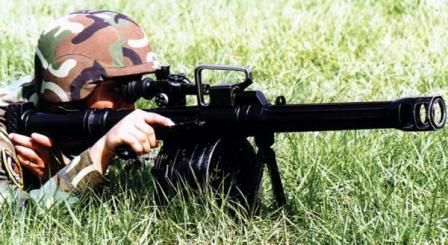 Chinese soldier fires QLZ-87 grenade launcher.