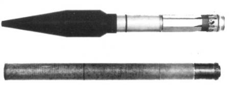 Top, Pzf 44 grenade with rocket booster and fins folded; bottom, recoilless launch cartridge.
