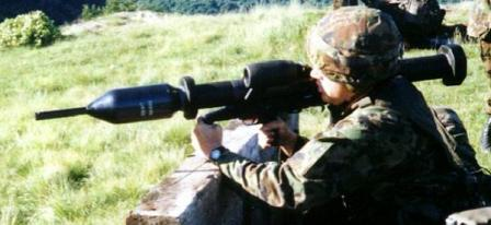 Pzf 3 is being aimed by Swiss soldier.