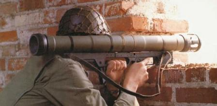 German soldier aims with Armbrust grenade launcher.