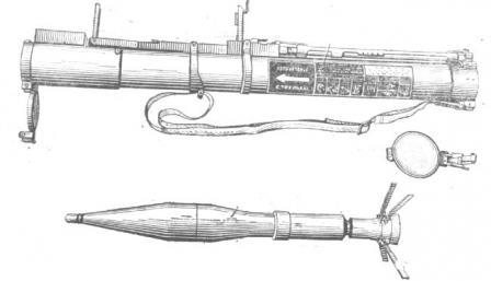 Реактивная противотанковая граната РПГ-22, пусковое устройство в боевом положениии граната в положении после выстрела.