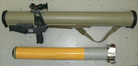 RPO-M thermobaric grenade launcher / rocket-propelled flame-thrower, complete weapon (top) and FAE rocket (bottom).