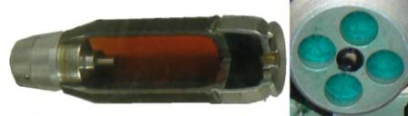 7P39 40mm caselessgrenade: cut-out view and rear view (right).